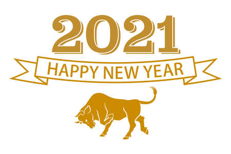 2021 Year of the ox symbolic clipart - Greeting words and offensive wild cattle icon