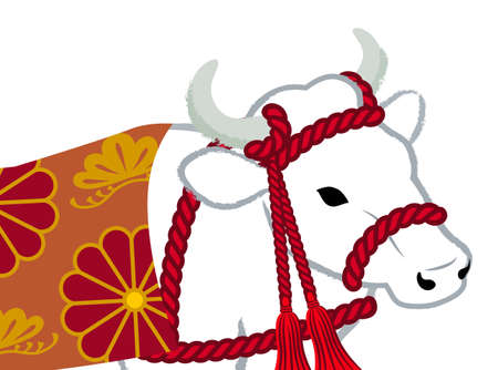 2021 Year of the ox symbolic clipart - decorative white cattle closeup layout 向量圖像