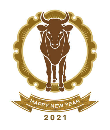 2021 Year of the ox symbolic clipart - Wild cattle in the circlar decoration 向量圖像