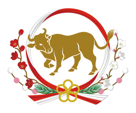 2021 Year of the ox symbolic clipart - Wild cattle icon and Mizuhiki which is the Japanese traditional wreath decoration 向量圖像