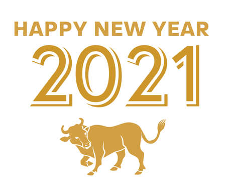 2021 Year of the ox symbolic clipart - greeting words and cattle icon