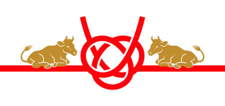 2021 Year of the ox symbolic clipart - Two cattle on the Japanese traditional mizuhiki ornament