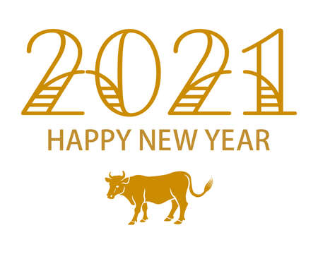 2021 Year of the ox symbolic clipart - greeting word and side view cattle icon