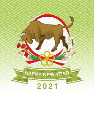 2021 year of the ox new year card - Cattle and the Japanese traditional wreath, green background