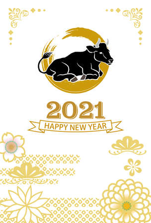 2021 year of the ox new year card - Black cattle and floral pattern 向量圖像