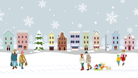 People in the winter snow covered townscape Vetores