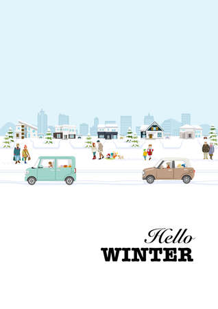 People and Running Cars in the winter suburb townscape - included words, vertical