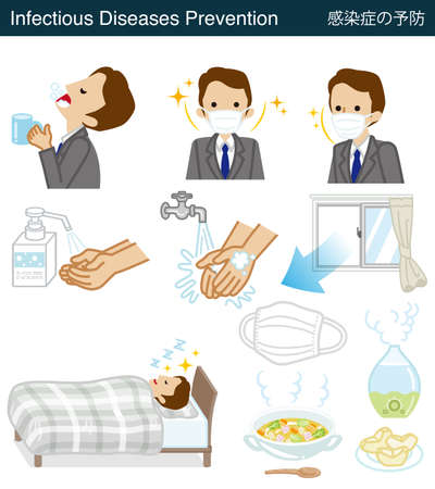 Set of Infectious diseases prevention clipart - Businessman