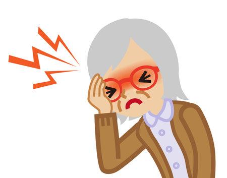 Senior woman suffers from headache Illusztráció