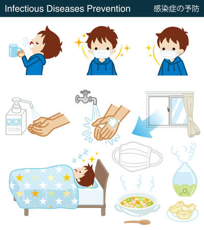 Set of Infectious diseases prevention clipart - Toddler boy
