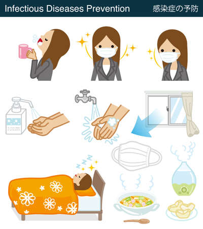Set of Infectious diseases prevention clipart - Businesswoman