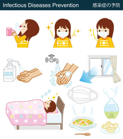 Set of Infectious diseases prevention clipart - Toddler girl