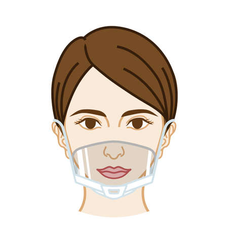 Woman's face wearing a mouth shield - front view