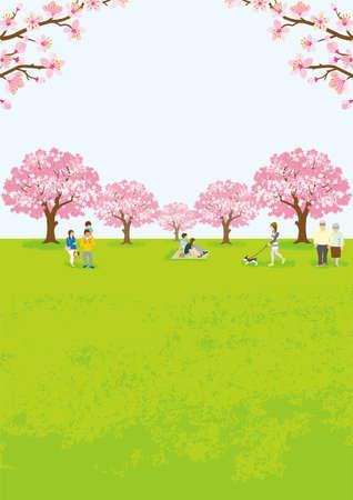 People enjoying cherry blossom viewing - Vertical ratio 벡터 (일러스트)