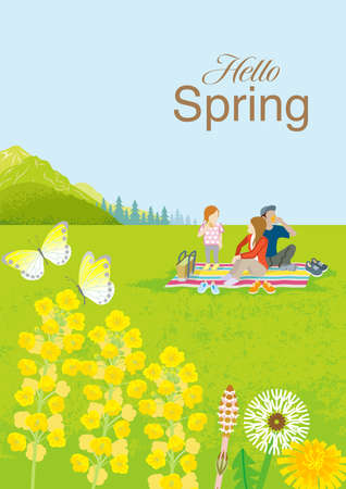 """Young family enjoying picnic in springtime nature, vertical layout - Included the word """"Hello Spring"""""""