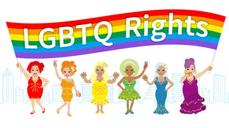 Six drag queens holding a wide rainbow flag and appealing LGBT Right - Include words, cityscape line art