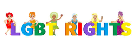 Six drag queens appealing LGBT Right with the alphabet spelling 向量圖像
