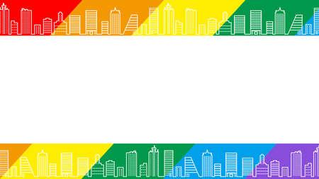 Rainbow color cityscape background - LGBTQ+ Rights concept