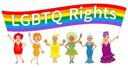 Six drag queens holding a wide rainbow flag and appealing LGBT Right - Include words