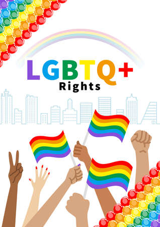 Raising hands to holding a Rainbow flag and fists in cityscape - LGBTQ+ Right concept art , Vertical layout