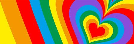 Rainbow colored multiple Heart background 向量圖像