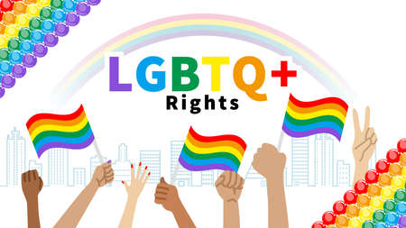 Raising hands to holding a Rainbow flag and fists in cityscape - LGBTQ+ Right concept art