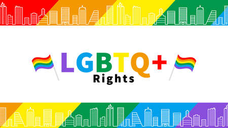 LGBTQ  Rights concept rainbow color cityscape background