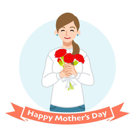 Smiling mother holding a bouquet of carnation - Mother's day clip art