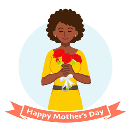 Smiling mother holding a bouquet of carnation, african - Mother's day clip art