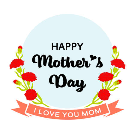 Mother's day greeting icon - Carnation flowers decoration, Include words