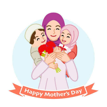 Mother embracing two children, Muslim - Mother's day clip art