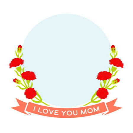 Mother's day greeting icon - Carnation flowers decoration