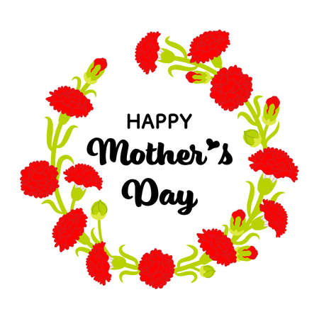 Mother's day greeting icon - Carnation wreath decoration, Include words