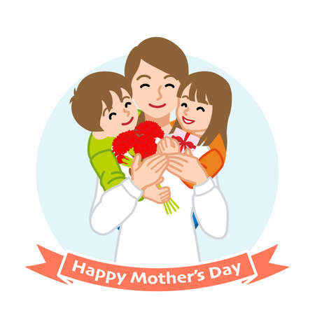 Mother embracing two children - Mother's day clip art 向量圖像