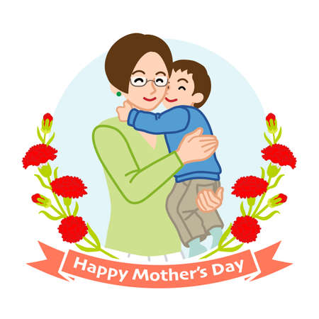 Mother who wearing eye glasses hugging a son - Mother's day clip art 向量圖像
