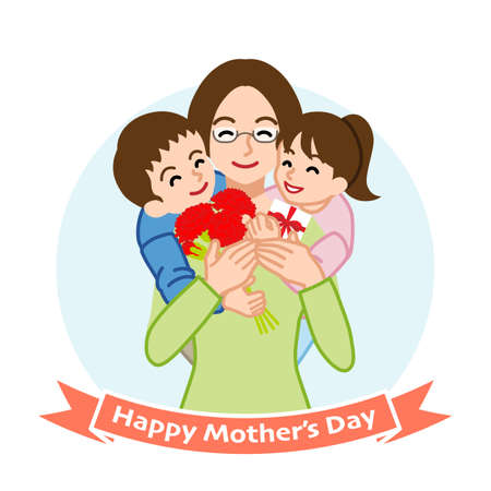 Mother who wearing eye glasses embracing two children - Mother's day clip art Vektorové ilustrace