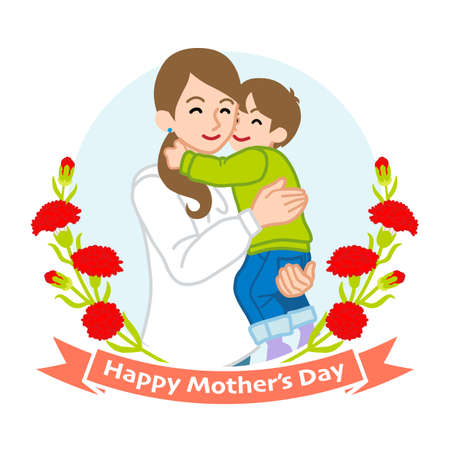 Mother hugging a son - Mother's day clip art 向量圖像