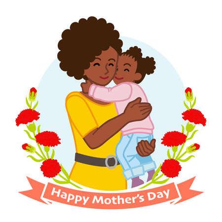 Mother hugging a daughter, African - Mother's day clip art 向量圖像