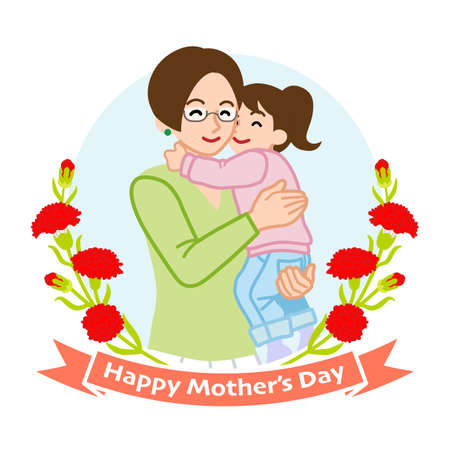 Mother who wearing eye glasses hugging a daughter - Mother's day clip art 向量圖像