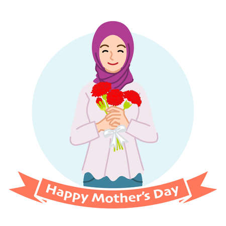 Smiling mother holding a bouquet of carnation, Muslim - Mother's day clip art