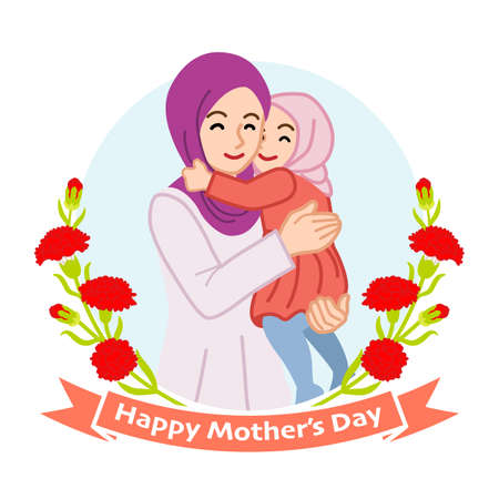 Mother hugging a daughter, Muslim - Mother's day clip art