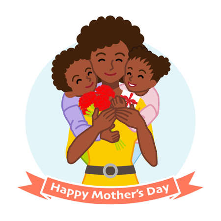 Mother embracing two children, African - Mother's day clip art