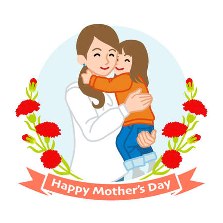Mother hugging a daughter - Mother's day clip art