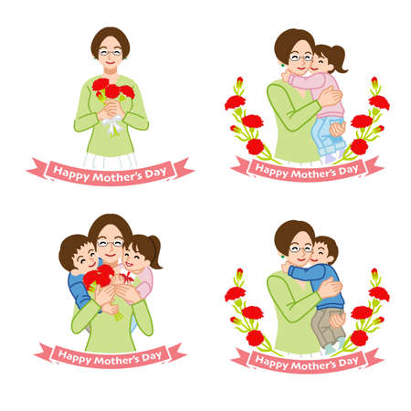 Mother's day clip art set - mother who wear eyeglasses embracing children, carnation flowers, four variation
