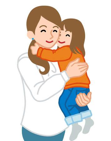 Mother embracing a daughter