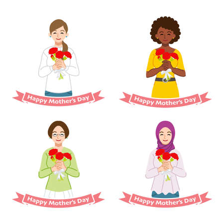 Mother's day clip art set - Mother holding a bouquet of carnation ,four different type mother 向量圖像