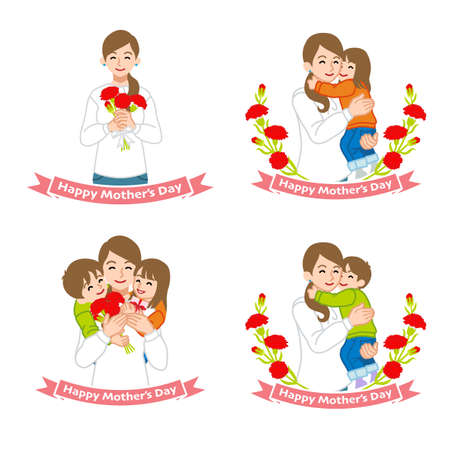 Mother's day clip art set - mother embracing children, carnation flowers, four variation