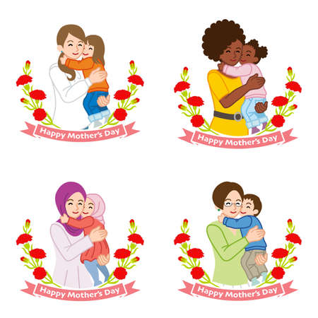 Mother's day clip art set - Mother embracing a child ,four different type mother