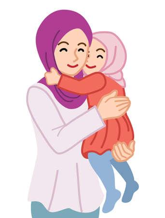 Muslim mother embracing a daughter 向量圖像
