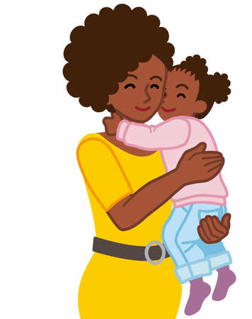 African mother embracing a daughter